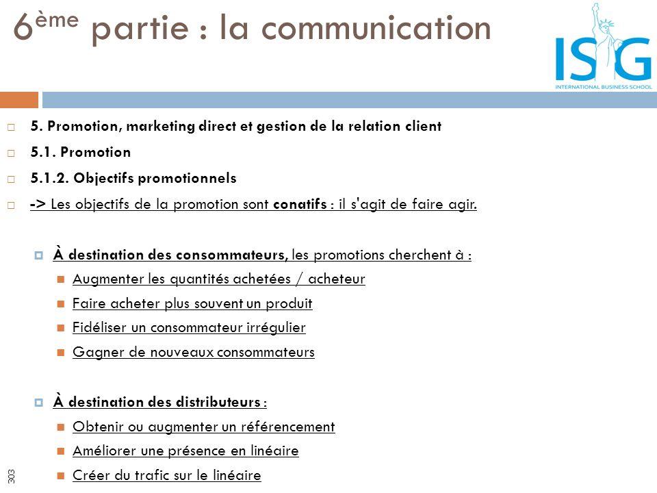 5. Promotion, marketing direct et gestion de la relation client 5.1. Promotion 5.1.2. Objectifs promotionnels -> Les objectifs de la promotion sont co