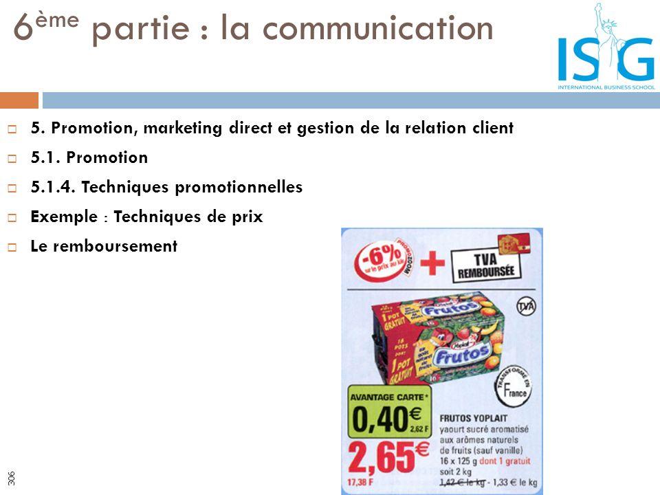 5. Promotion, marketing direct et gestion de la relation client 5.1. Promotion 5.1.4. Techniques promotionnelles Exemple : Techniques de prix Le rembo