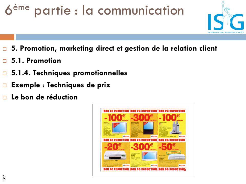 5. Promotion, marketing direct et gestion de la relation client 5.1. Promotion 5.1.4. Techniques promotionnelles Exemple : Techniques de prix Le bon d