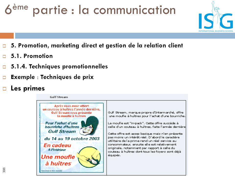 5. Promotion, marketing direct et gestion de la relation client 5.1. Promotion 5.1.4. Techniques promotionnelles Exemple : Techniques de prix Les prim
