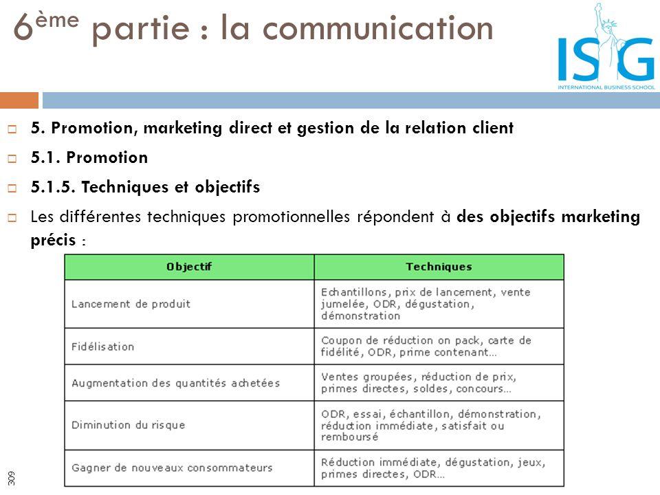 5. Promotion, marketing direct et gestion de la relation client 5.1. Promotion 5.1.5. Techniques et objectifs Les différentes techniques promotionnell