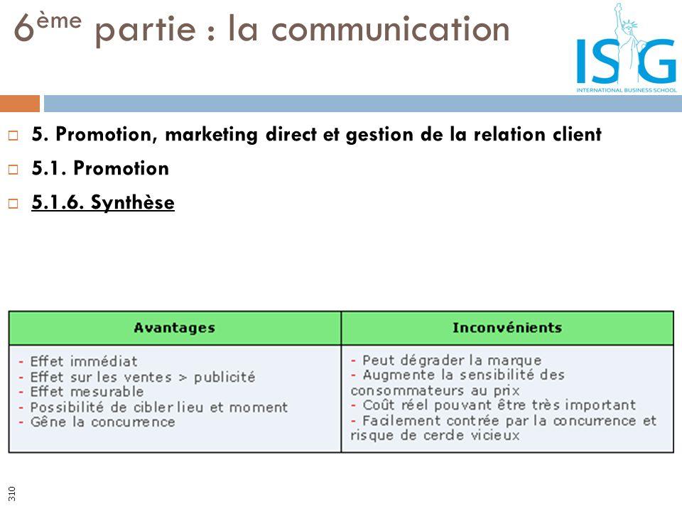 5. Promotion, marketing direct et gestion de la relation client 5.1. Promotion 5.1.6. Synthèse 6 ème partie : la communication 310