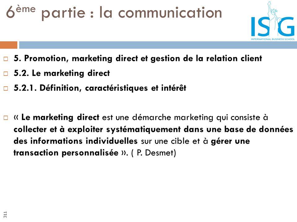 5. Promotion, marketing direct et gestion de la relation client 5.2. Le marketing direct 5.2.1. Définition, caractéristiques et intérêt « Le marketing