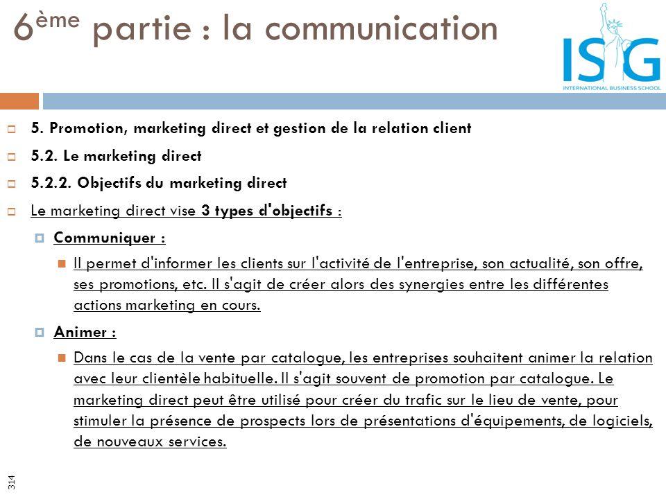 5. Promotion, marketing direct et gestion de la relation client 5.2. Le marketing direct 5.2.2. Objectifs du marketing direct Le marketing direct vise