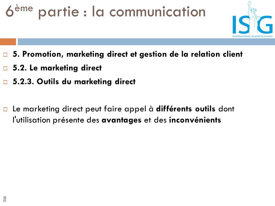 5. Promotion, marketing direct et gestion de la relation client 5.2. Le marketing direct 5.2.3. Outils du marketing direct Le marketing direct peut fa