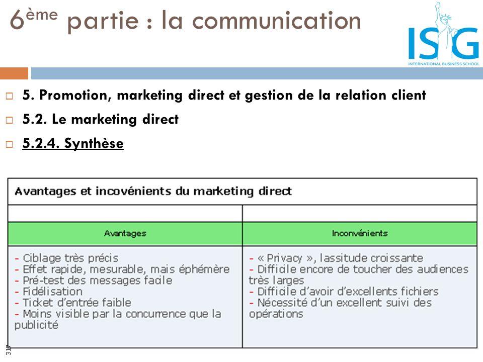 5. Promotion, marketing direct et gestion de la relation client 5.2. Le marketing direct 5.2.4. Synthèse 6 ème partie : la communication 317