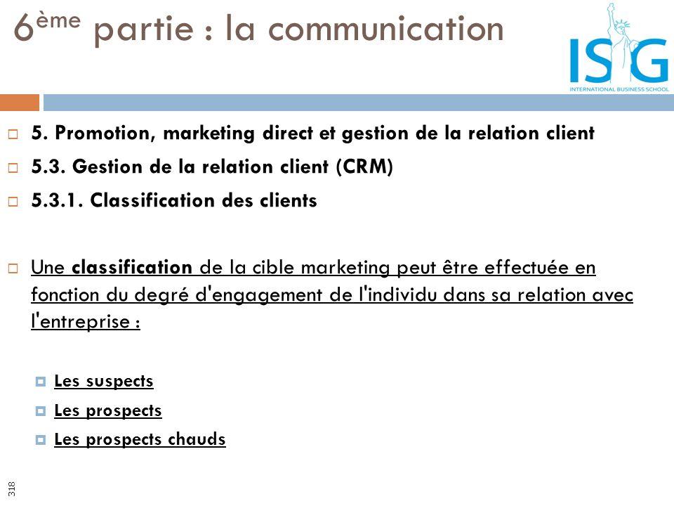 5. Promotion, marketing direct et gestion de la relation client 5.3. Gestion de la relation client (CRM) 5.3.1. Classification des clients Une classif