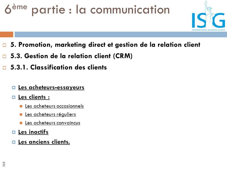 5. Promotion, marketing direct et gestion de la relation client 5.3. Gestion de la relation client (CRM) 5.3.1. Classification des clients Les acheteu