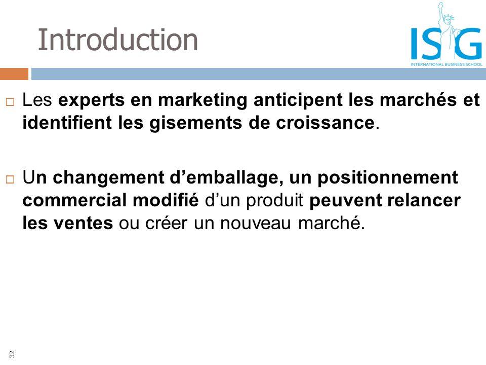 Introduction Les experts en marketing anticipent les marchés et identifient les gisements de croissance. Un changement demballage, un positionnement c