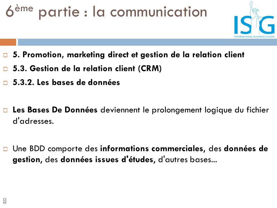 5. Promotion, marketing direct et gestion de la relation client 5.3. Gestion de la relation client (CRM) 5.3.2. Les bases de données Les Bases De Donn