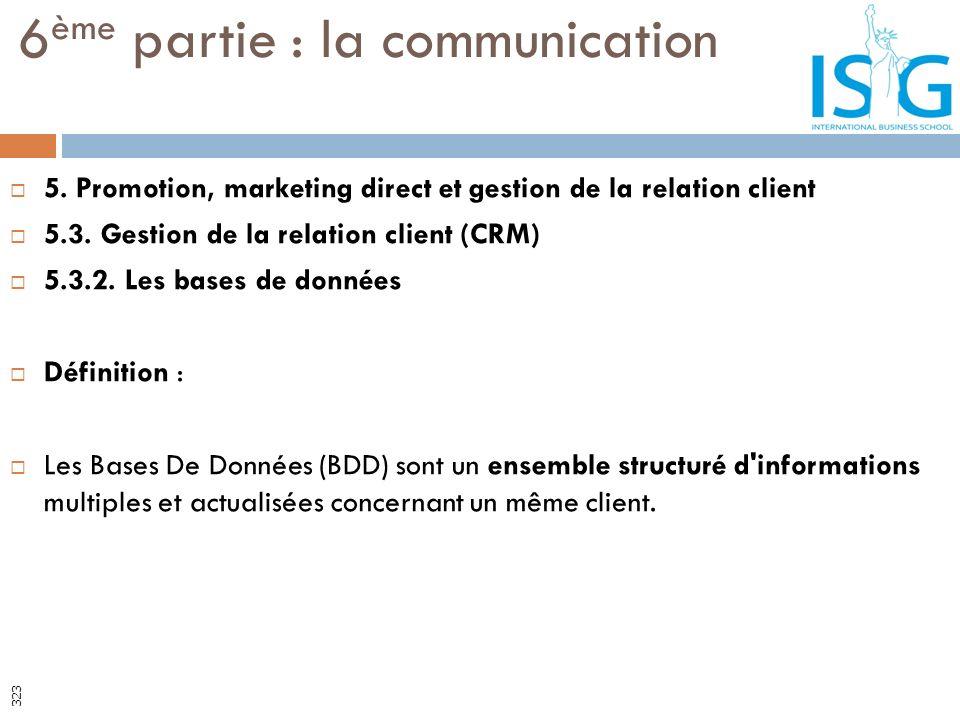 5. Promotion, marketing direct et gestion de la relation client 5.3. Gestion de la relation client (CRM) 5.3.2. Les bases de données Définition : Les