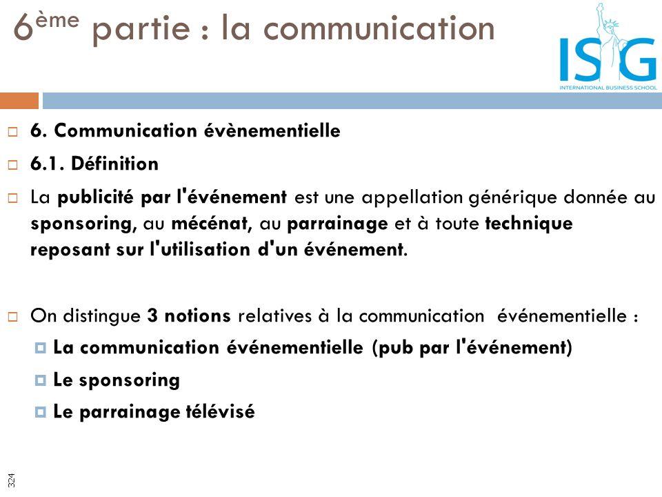 6. Communication évènementielle 6.1. Définition La publicité par l'événement est une appellation générique donnée au sponsoring, au mécénat, au parrai