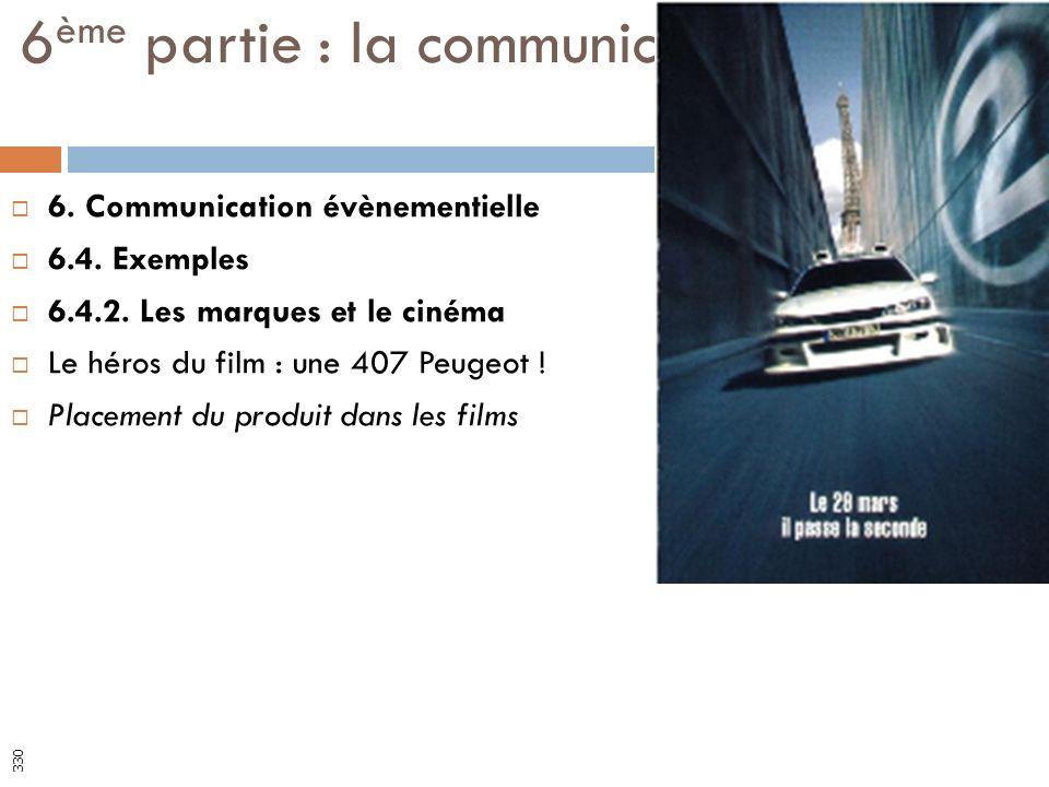6. Communication évènementielle 6.4. Exemples 6.4.2. Les marques et le cinéma Le héros du film : une 407 Peugeot ! Placement du produit dans les films