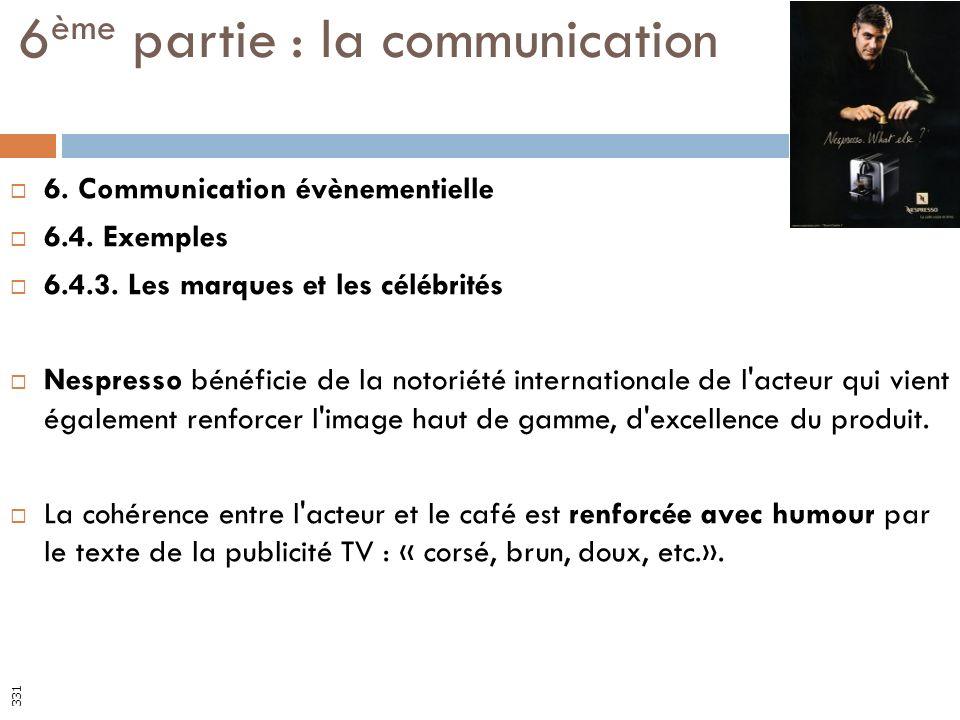 6. Communication évènementielle 6.4. Exemples 6.4.3. Les marques et les célébrités Nespresso bénéficie de la notoriété internationale de l'acteur qui