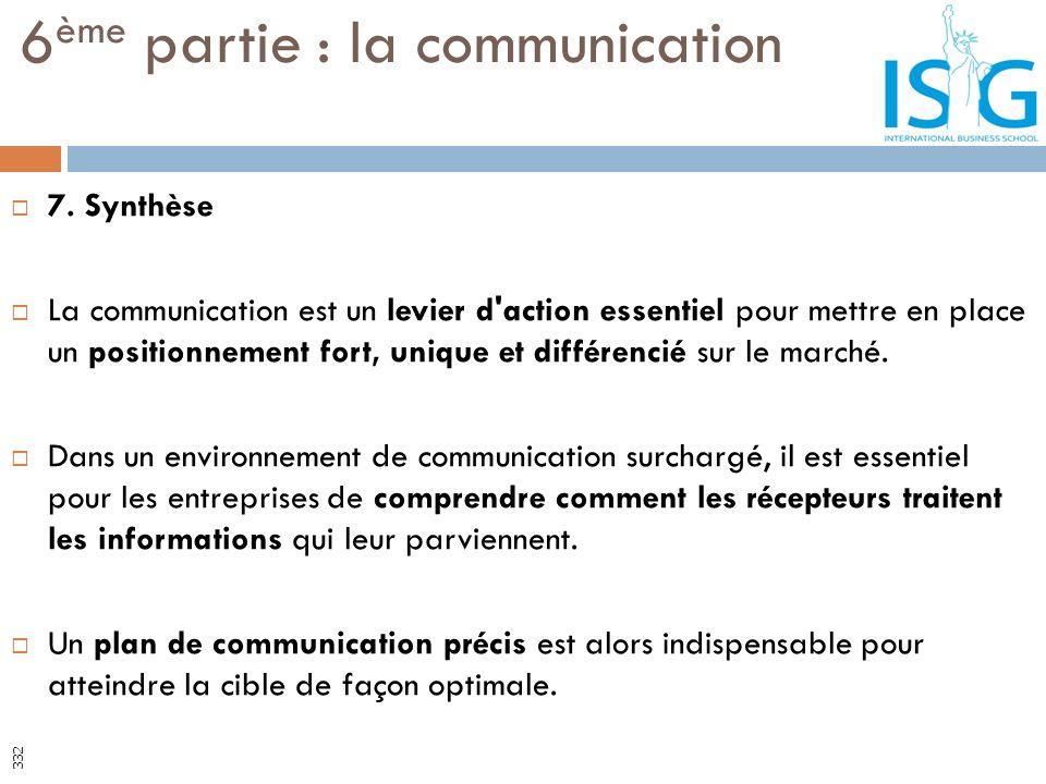 7. Synthèse La communication est un levier d'action essentiel pour mettre en place un positionnement fort, unique et différencié sur le marché. Dans u