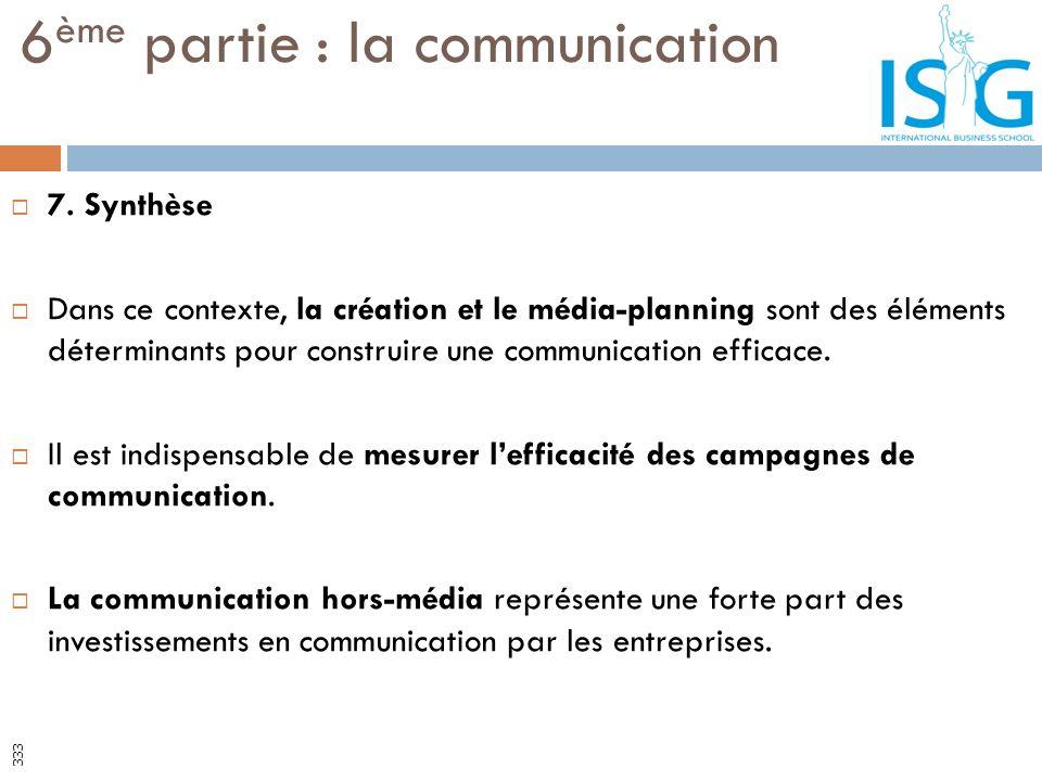 7. Synthèse Dans ce contexte, la création et le média-planning sont des éléments déterminants pour construire une communication efficace. Il est indis