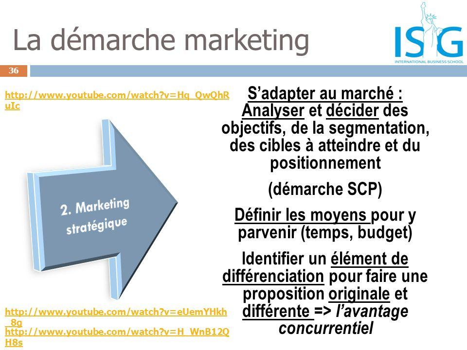 36 La démarche marketing Sadapter au marché : Analyser et décider des objectifs, de la segmentation, des cibles à atteindre et du positionnement (déma