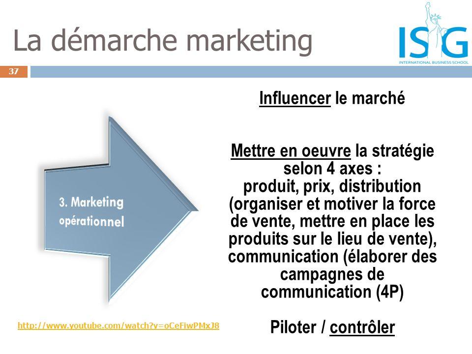 37 La démarche marketing Influencer le marché Mettre en oeuvre la stratégie selon 4 axes : produit, prix, distribution (organiser et motiver la force