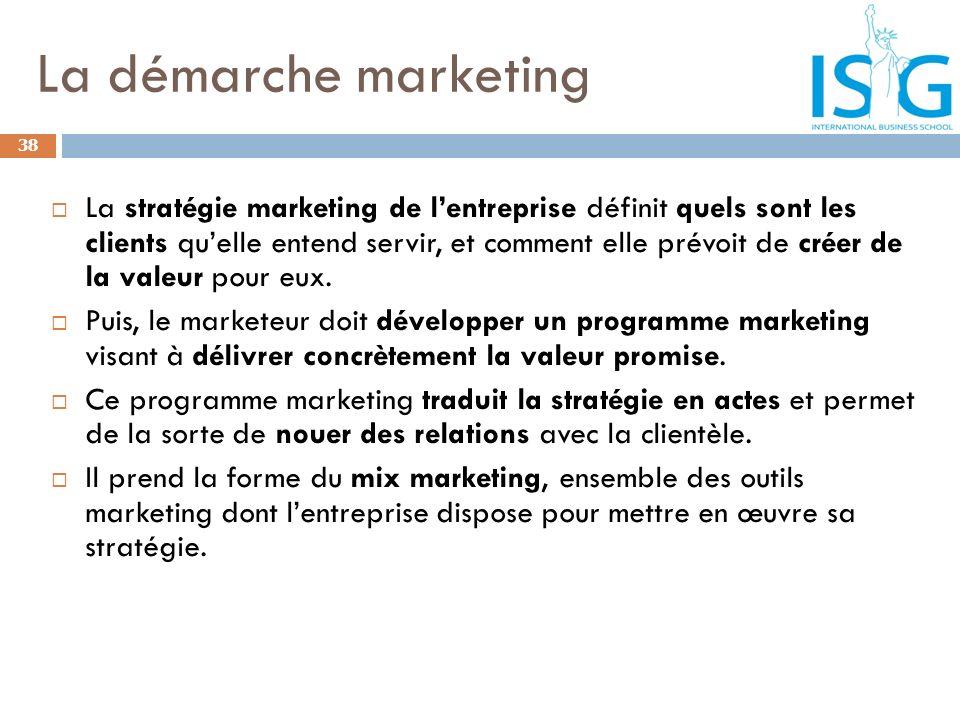 La démarche marketing 38 La stratégie marketing de lentreprise définit quels sont les clients quelle entend servir, et comment elle prévoit de créer d