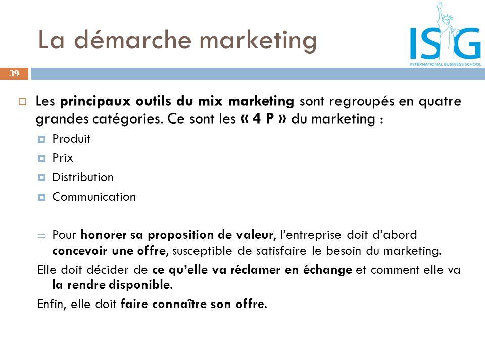 La démarche marketing 39 Les principaux outils du mix marketing sont regroupés en quatre grandes catégories. Ce sont les « 4 P » du marketing : Produi