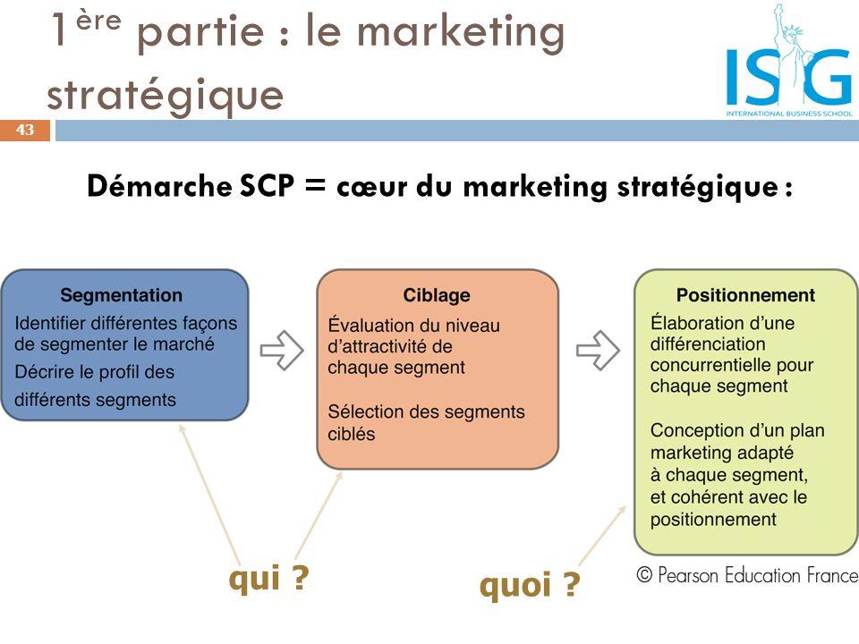 43 1 ère partie : le marketing stratégique Démarche SCP = cœur du marketing stratégique : qui ? quoi ?