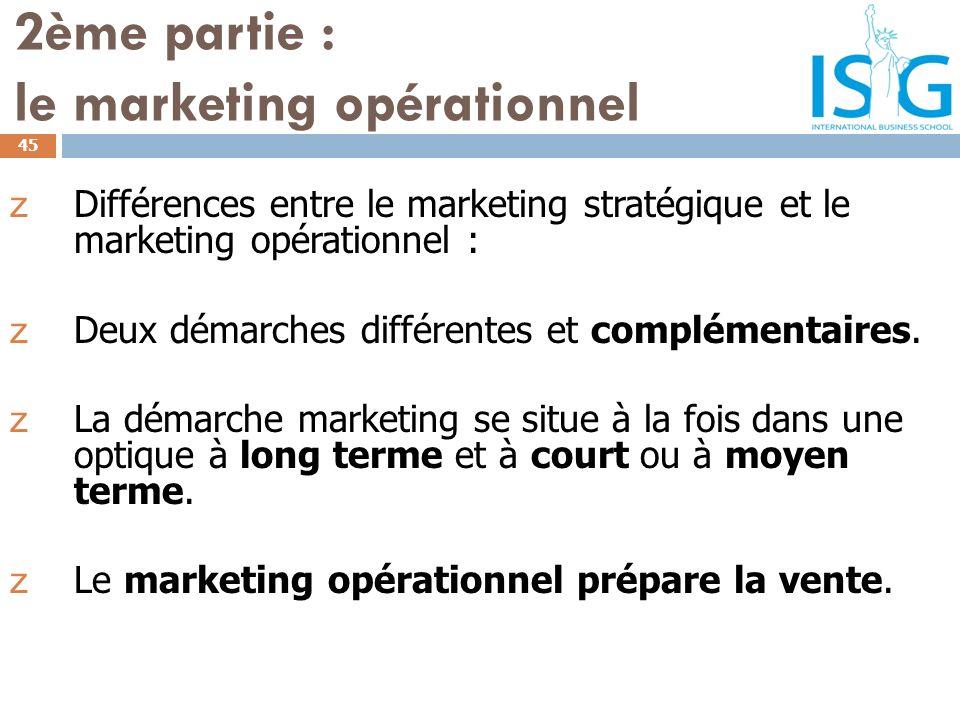 2ème partie : le marketing opérationnel z Différences entre le marketing stratégique et le marketing opérationnel : z Deux démarches différentes et co