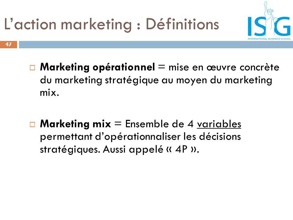 Laction marketing : Définitions Marketing opérationnel = mise en œuvre concrète du marketing stratégique au moyen du marketing mix. Marketing mix = En