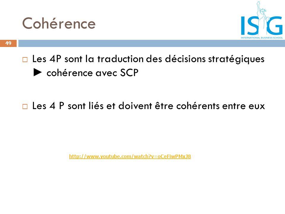 Cohérence Les 4P sont la traduction des décisions stratégiques cohérence avec SCP Les 4 P sont liés et doivent être cohérents entre eux 49 http://www.