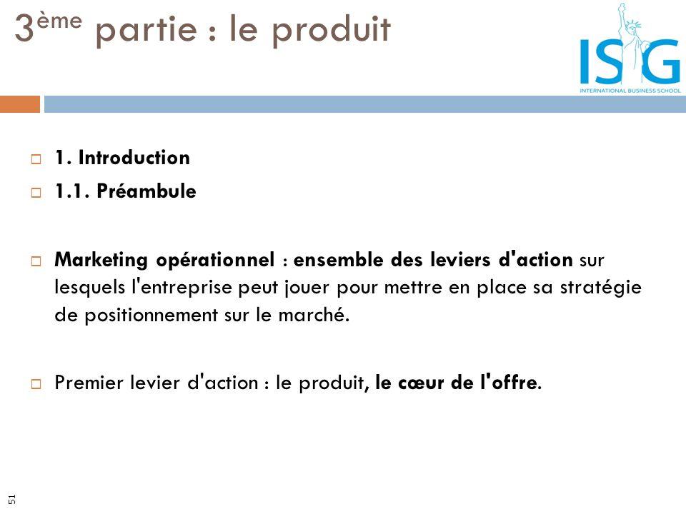 1. Introduction 1.1. Préambule Marketing opérationnel : ensemble des leviers d'action sur lesquels l'entreprise peut jouer pour mettre en place sa str
