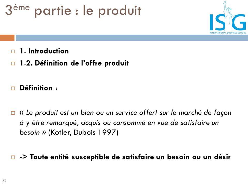 1. Introduction 1.2. Définition de loffre produit Définition : « Le produit est un bien ou un service offert sur le marché de façon à y être remarqué,