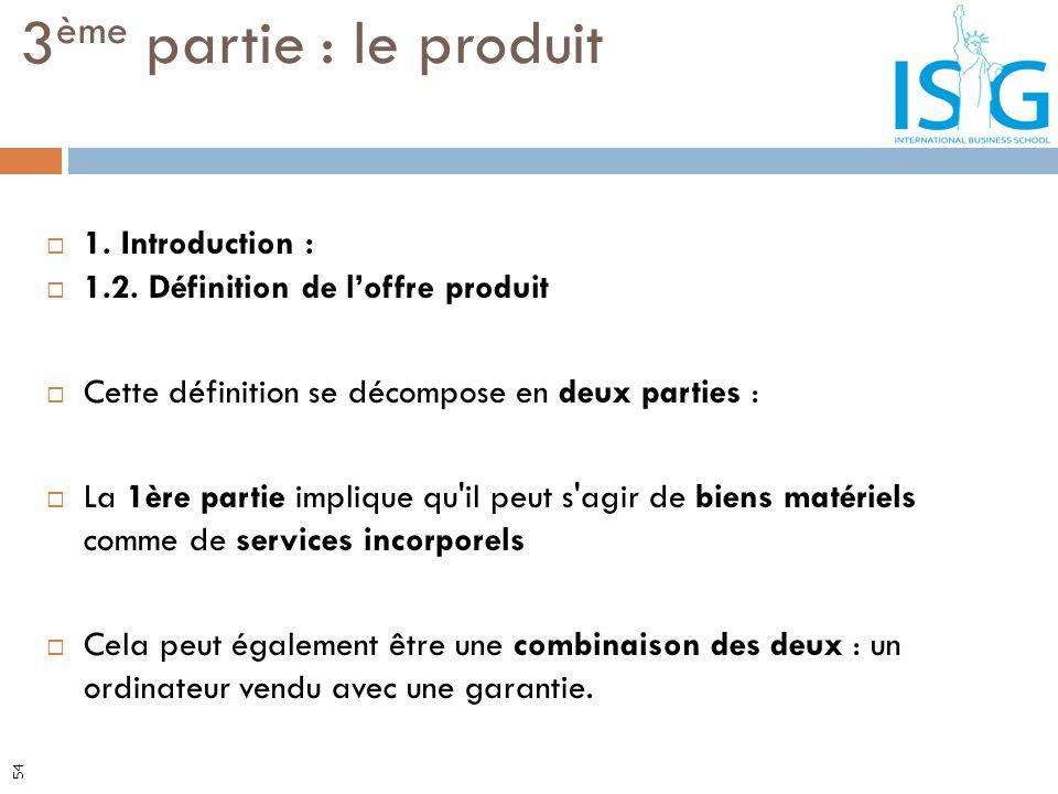 1. Introduction : 1.2. Définition de loffre produit Cette définition se décompose en deux parties : La 1ère partie implique qu'il peut s'agir de biens