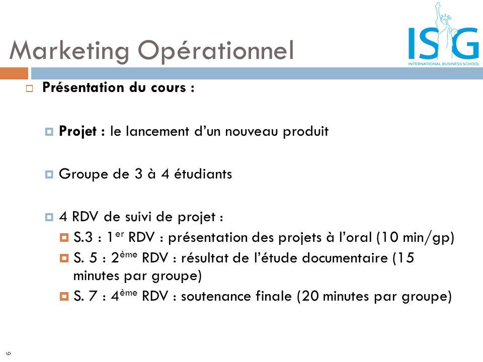 6 Présentation du cours : Projet : le lancement dun nouveau produit Groupe de 3 à 4 étudiants 4 RDV de suivi de projet : S.3 : 1 er RDV : présentation