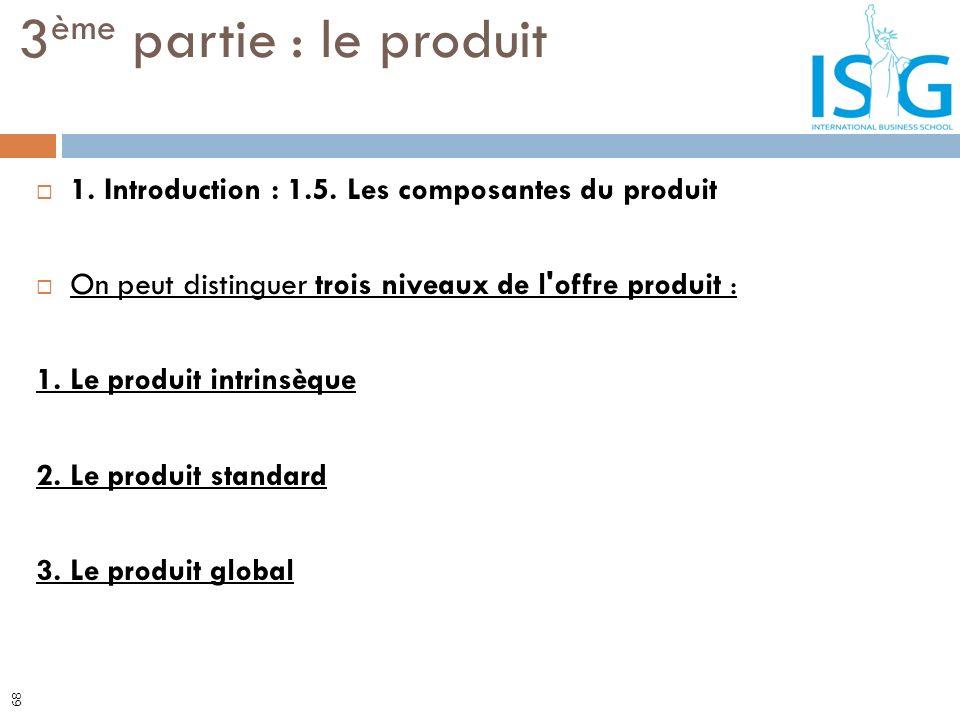 1. Introduction : 1.5. Les composantes du produit On peut distinguer trois niveaux de l'offre produit : 1. Le produit intrinsèque 2. Le produit standa