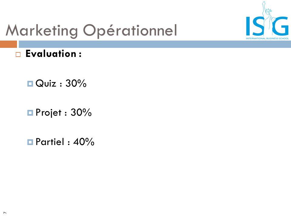7 Evaluation : Quiz : 30% Projet : 30% Partiel : 40% Marketing Opérationnel