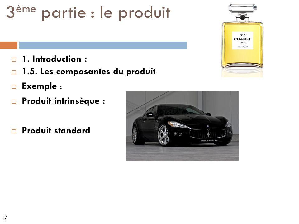 1. Introduction : 1.5. Les composantes du produit Exemple : Produit intrinsèque : Produit standard 3 ème partie : le produit 70