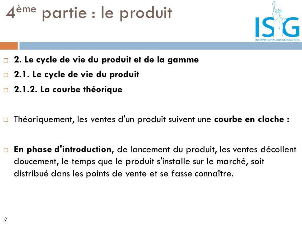 2. Le cycle de vie du produit et de la gamme 2.1. Le cycle de vie du produit 2.1.2. La courbe théorique Théoriquement, les ventes d'un produit suivent