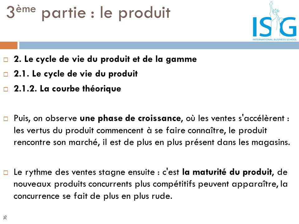 2. Le cycle de vie du produit et de la gamme 2.1. Le cycle de vie du produit 2.1.2. La courbe théorique Puis, on observe une phase de croissance, où l