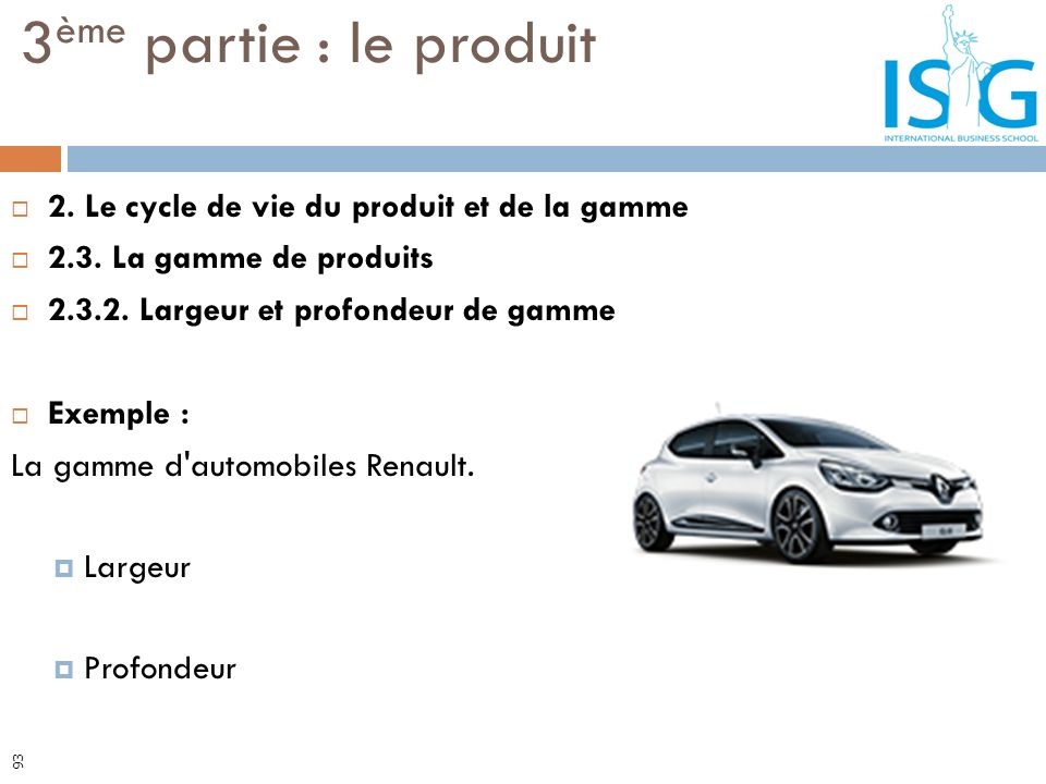 2. Le cycle de vie du produit et de la gamme 2.3. La gamme de produits 2.3.2. Largeur et profondeur de gamme Exemple : La gamme d'automobiles Renault.