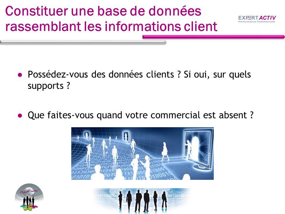 Constituer une base de données rassemblant les informations client Possédez-vous des données clients ? Si oui, sur quels supports ? Que faites-vous qu