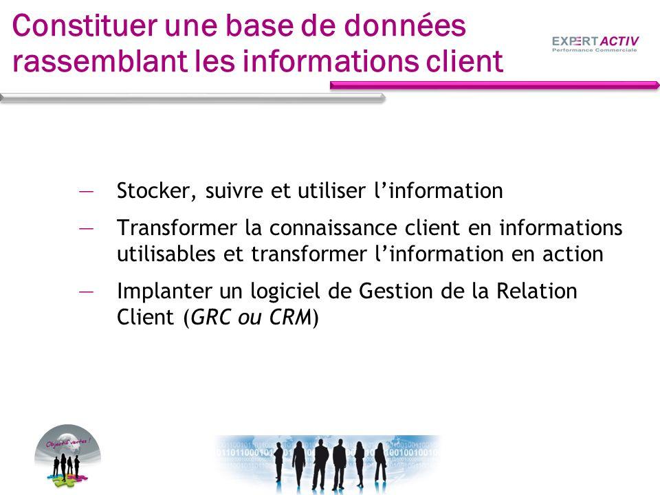 Stocker, suivre et utiliser linformation Transformer la connaissance client en informations utilisables et transformer linformation en action Implante