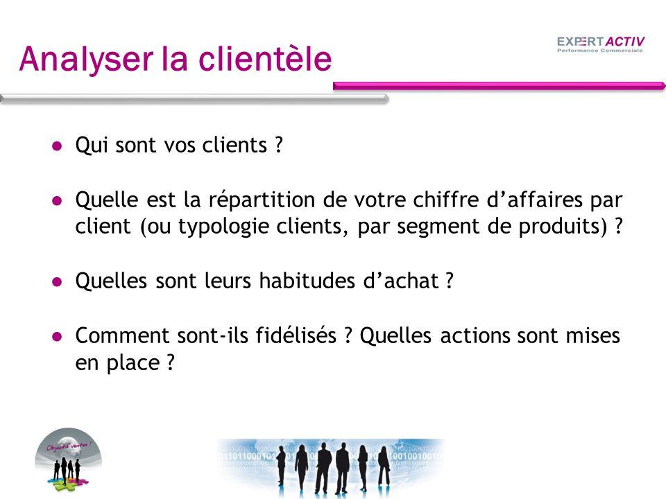 Analyser la clientèle Qui sont vos clients ? Quelle est la répartition de votre chiffre daffaires par client (ou typologie clients, par segment de pro