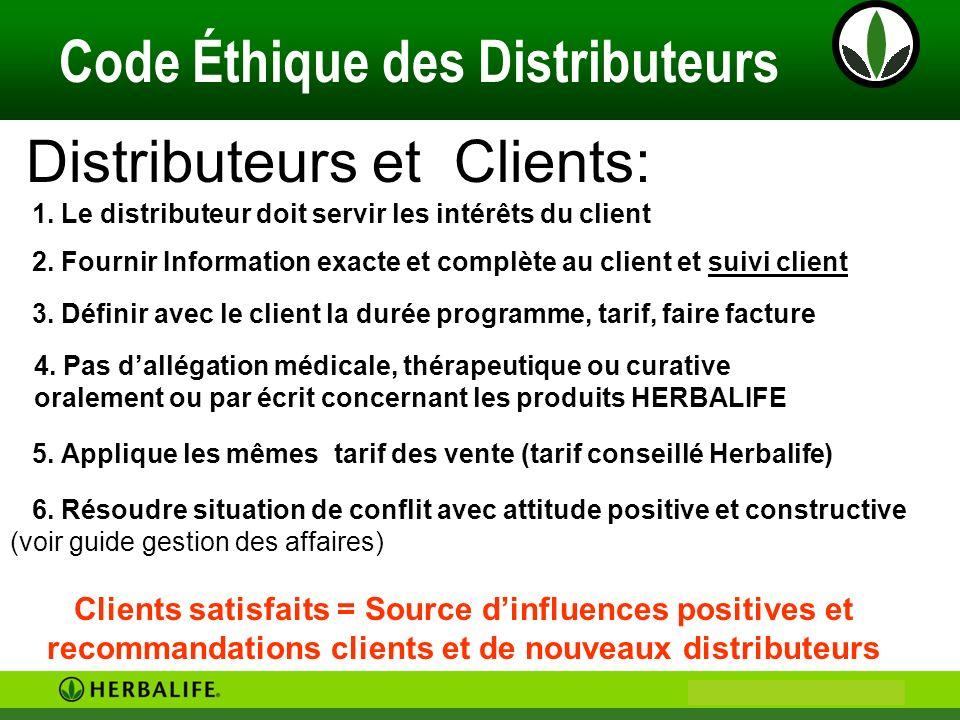 Philip & Anne Marie CAMUS Code Éthique des Distributeurs Distributeurs et Clients: 6. Résoudre situation de conflit avec attitude positive et construc