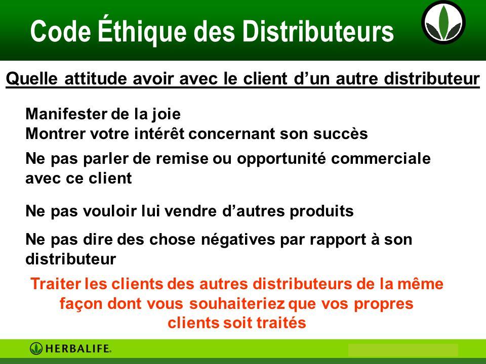 Philip & Anne Marie CAMUS Code Éthique des Distributeurs Distributeurs et Prospects: 1.