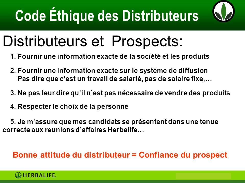 Philip & Anne Marie CAMUS Code Éthique des Distributeurs Distributeurs et Prospects: 1. Fournir une information exacte de la société et les produits 2