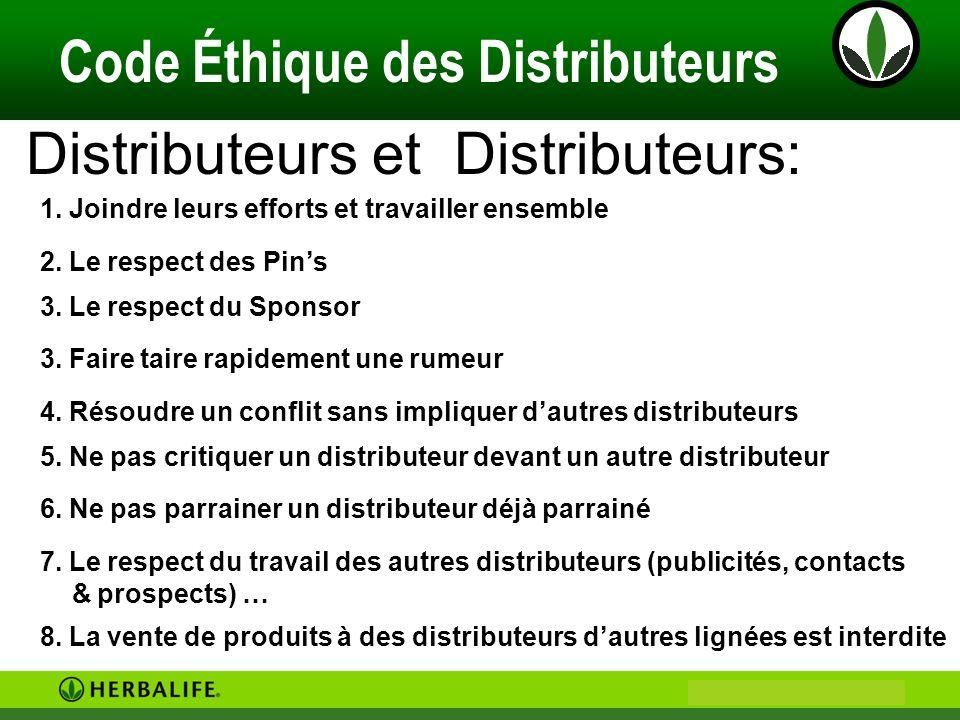 Philip & Anne Marie CAMUS Code Éthique des Distributeurs Distributeurs et Distributeurs: 1. Joindre leurs efforts et travailler ensemble 4. Résoudre u