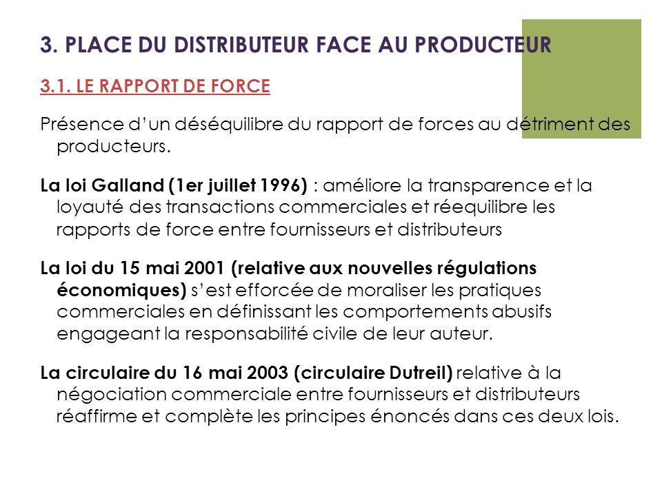 3. PLACE DU DISTRIBUTEUR FACE AU PRODUCTEUR 3.1. LE RAPPORT DE FORCE Présence dun déséquilibre du rapport de forces au détriment des producteurs. La l