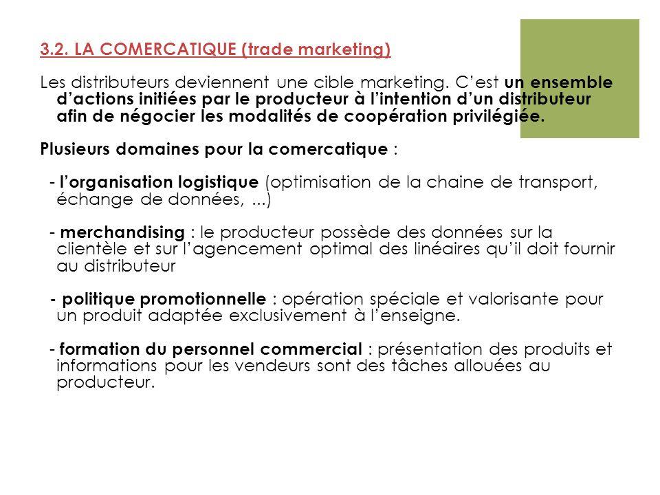 3.2. LA COMERCATIQUE (trade marketing) Les distributeurs deviennent une cible marketing. Cest un ensemble dactions initiées par le producteur à linten