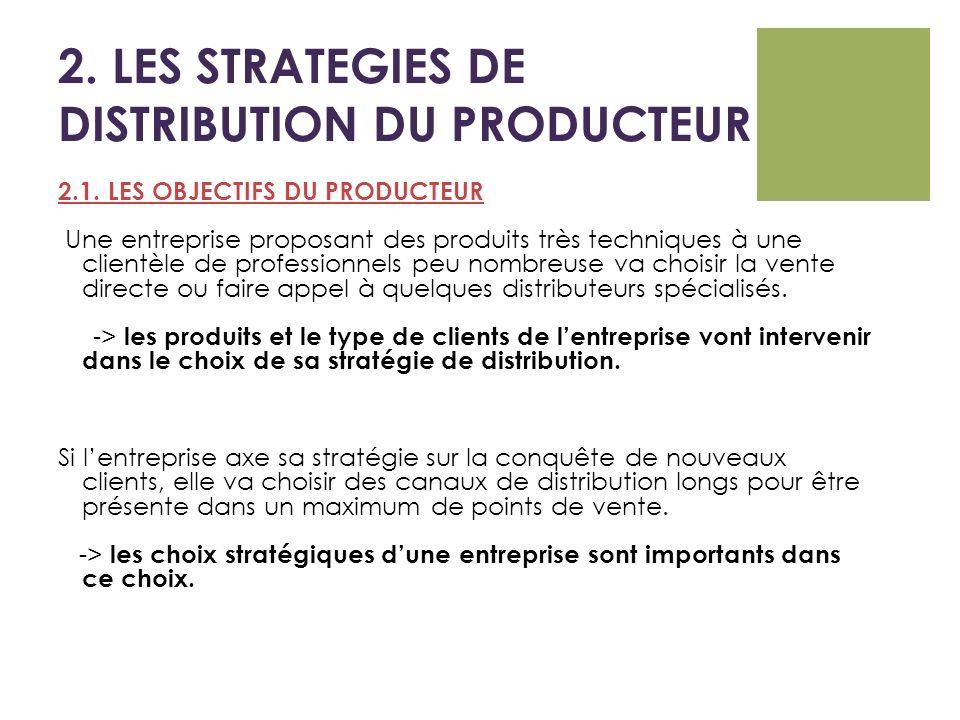 2. LES STRATEGIES DE DISTRIBUTION DU PRODUCTEUR 2.1. LES OBJECTIFS DU PRODUCTEUR Une entreprise proposant des produits très techniques à une clientèle