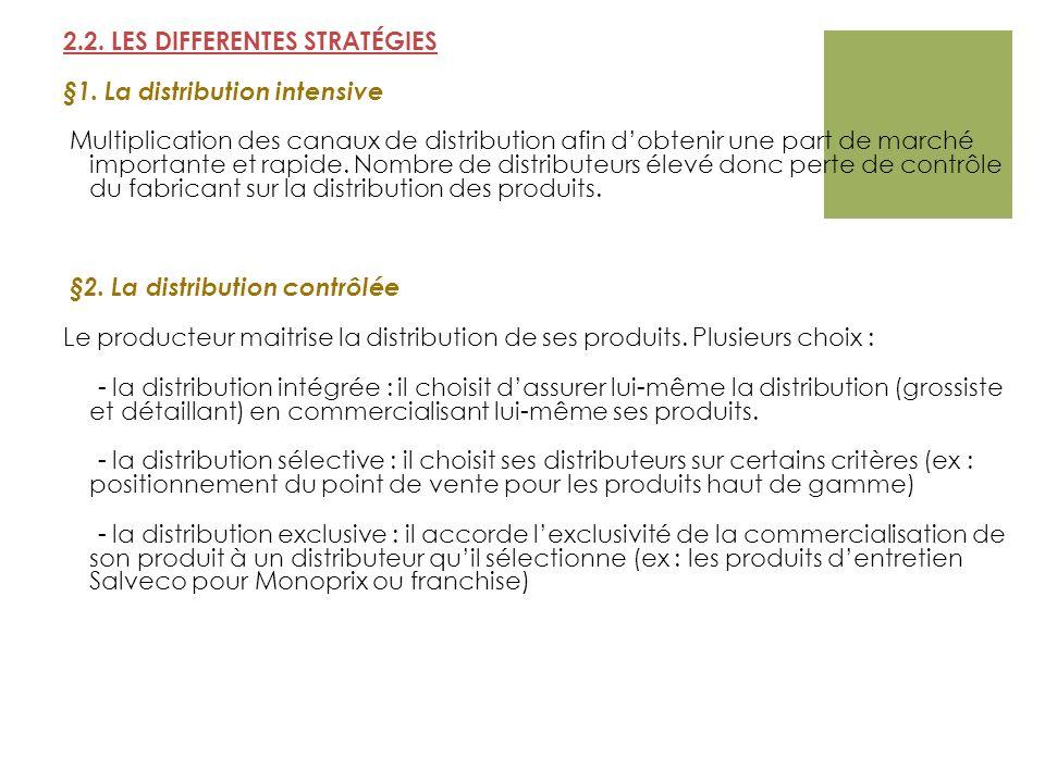 2.2. LES DIFFERENTES STRATÉGIES §1. La distribution intensive Multiplication des canaux de distribution afin dobtenir une part de marché importante et