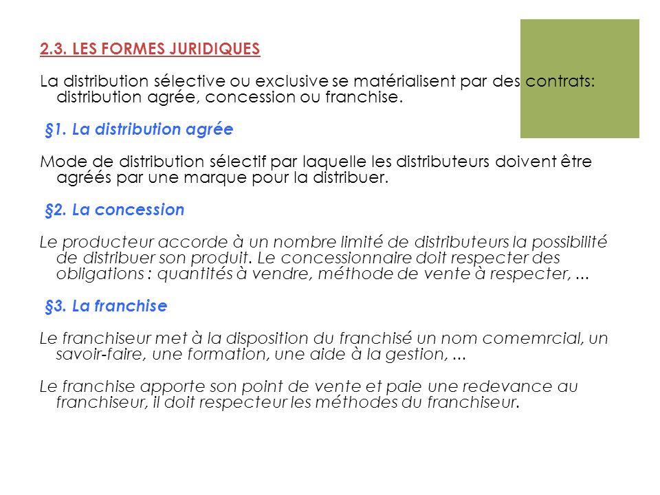2.3. LES FORMES JURIDIQUES La distribution sélective ou exclusive se matérialisent par des contrats: distribution agrée, concession ou franchise. §1.